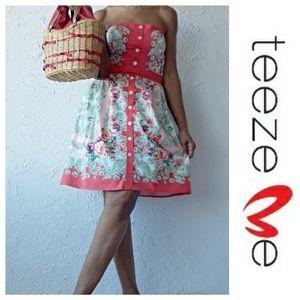 Teeze Me Red Floral Dress. EUC